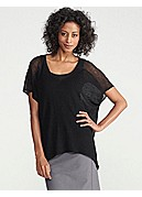 V-Neck Uneven Top in Sheer Hemp