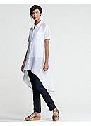 Petite Classic Collar Short-Sleeve Layering Dress in Handkerchief Linen
