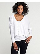 V-Neck Boxy Cardigan in Organic Cotton Texture