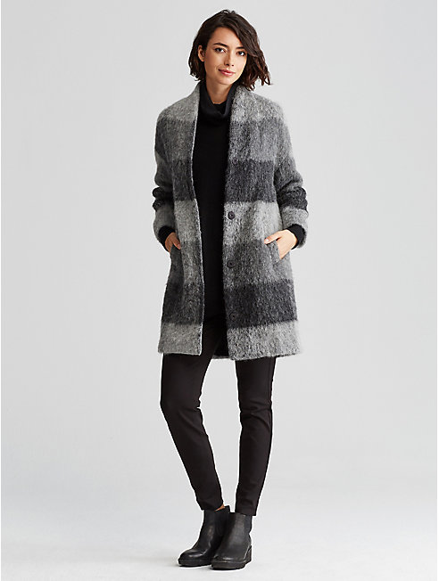 Wool Alpaca Check Cocoon Coat