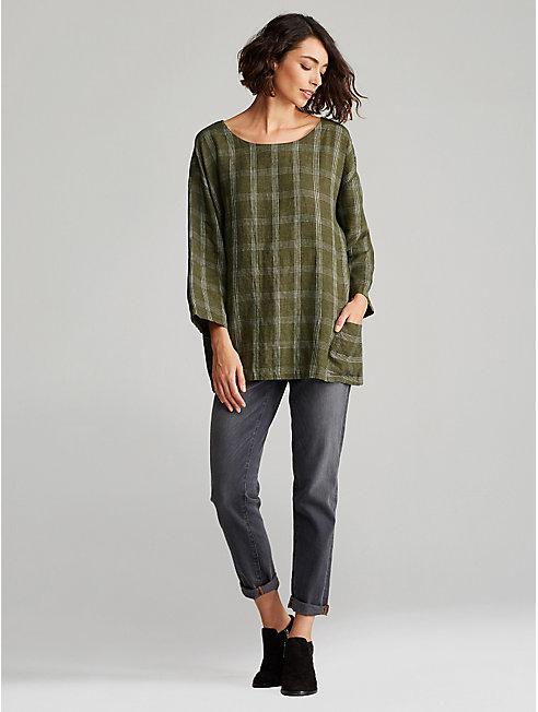 Plus Size Organic Linen Plaid Top
