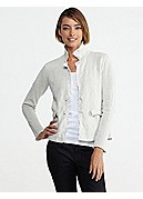 Petite Notch Collar Jacket with Fringe Trim in Cotton Metallic