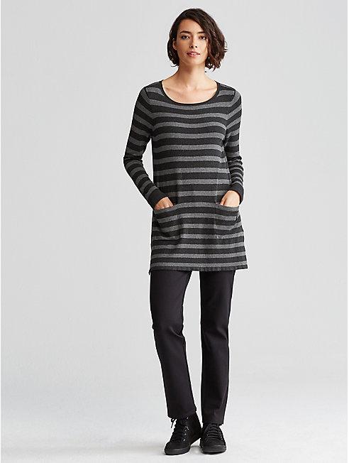 Cozy Viscose Stretch Stripe Tunic