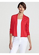 Cropped Cardigan with 3/4 Sleeves in Featherweight Silk Cotton