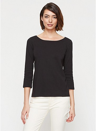 Eileen Fisher - Ballet Neck Top in Cotton Interlock