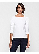 Petite Ballet Neck Top in Cotton Interlock