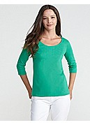 Plus Size Rounded-V Top in Cotton Interlock