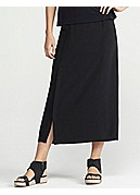 Full-Length Straight Skirt with Button Slit in Silk Georgette Crepe