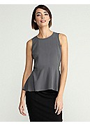 Round Neck Sleeveless Peplum Top in Silk Georgette Crepe