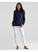 Plus Size Skinny Ankle Jean in Garment-Dyed Organic Cotton Stretch Twill