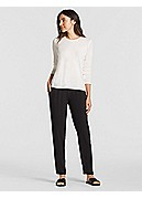 Petite Crew Neck Long-Sleeve Top in Stretch Silk Jersey