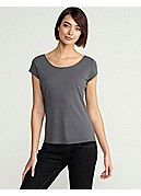 Plus Size Scoop Neck Cap-Sleeve Top in Stretch Silk Jersey