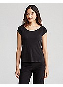 Petite Scoop Neck Cap-Sleeve Top in Stretch Silk Jersey