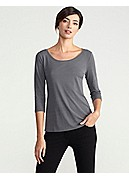 Scoop Neck 3/4-Sleeve Top in Stretch Silk Jersey