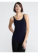 Plus Size Scoop Neck Long Slim Cami in Stretch Silk Jersey
