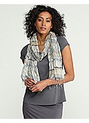 Handloomed Puckered Scarf in Gathered Silk Stripe