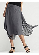 Knee-Length Draped Skirt with Yoke in Sheer Silk Georgette