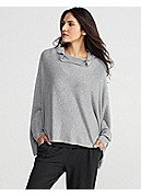 Funnel Neck Cropped Box-Top in Cozy Viscose Stretch Knit