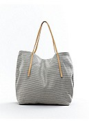 Tote in Striped Linen Twill with Italian Leather