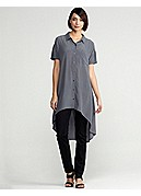 Classic Collar Short-Sleeve Layering Dress in Silk Crepe de Chine
