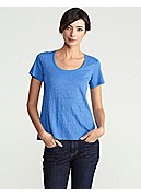 Plus Size U-Neck Short-Sleeve A-Line Tee in Linen Jersey