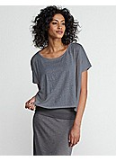 Bateau Neck Cropped Poncho Top in Linen Jersey