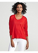 U-Neck Dolman Top in Linen Jersey