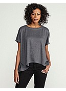 Plus Size Bateau Neck Short-Sleeve Box-Top in Linen Jersey