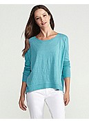 Bateau Neck Wedge Top in Linen Jersey