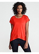 Scoop Neck Cap-Sleeve Top in Linen Jersey