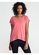 Petite Scoop Neck Cap-Sleeve Top in Linen Jersey