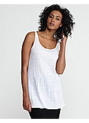 Petite Scoop Neck Long Tunic in Linen Jersey