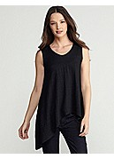 Plus Size Soft V-Neck Tank in Linen Jersey