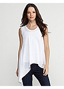 Soft V-Neck Tank in Linen Jersey