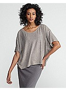 Jewel Neck Cropped Box-Top in Linen Jersey with Mini Stripe