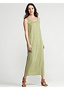 Plus Size Scoop Neck Oval Full-Length Dress in Linen Jersey Stripe