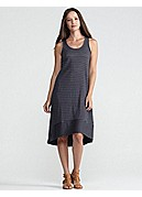 Racer-Back Knee-Length Dress in Linen Jersey Stripe