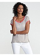 Plus Size Scoop Neck Short-Sleeve Top in Linen Jersey Stripe