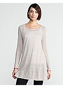 Plus Size Scoop Neck Tunic in Linen Jersey Stripe