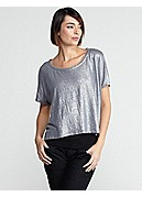 Bateau Neck Short-Sleeve Cropped Poncho Top in Linen Jersey Shimmer