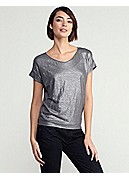 Soft V-Neck Dolman Short-Sleeve Wedge Top in Linen Jersey Shimmer