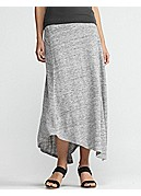 Calf-Length Swing Skirt in Linen Jersey Melange