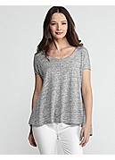 Scoop Neck Short-Sleeve Box-Top in Linen Jersey Melange