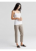 Slim Ankle Pant with Side Zip in Organic Cotton Stretch Twill