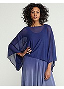 Scoop Neck Cropped Poncho Top in Gossamer Crepe