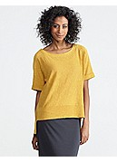 Plus Size Scoop Neck Short-Sleeve Box-Top in Linen Cotton Slub