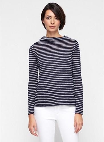 Funnel Neck Top In Striped Organic Linen Cotton Slub