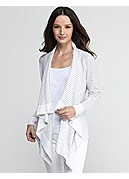 Cascading Cardigan in Linen Cotton Slub Stripe