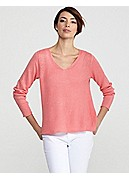 V-Neck Box-Top in Fine Gauge Linen