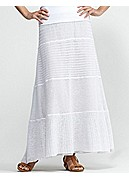 Full-Length Tiered Skirt in Fine Gauge Linen Lace Mix